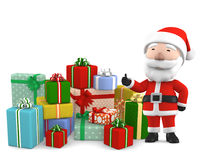 Święty Mikołaj z teraźniejszością, 3D ilustracja ilustracji