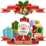 Święty Mikołaj z teraźniejszością, 3D ilustracja ilustracja wektor