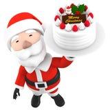 Święty Mikołaj z tortem, 3D ilustracja ilustracji