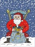 Święty Mikołaj z Xmas teraźniejszość ilustracja wektor