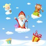 Święty Nicholas, diabeł i anioł, - wektor ilustracji