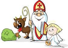 Święty Nicholas, diabeł i anioł, - wektorowa ilustracja odizolowywająca na bielu ilustracja wektor