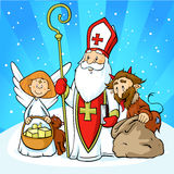 Święty Nicholas, diabeł i anioł, - wektorowa ilustracyjna kreskówka ilustracji