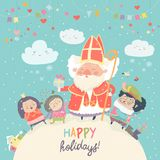 Święty Nicholas i szczęśliwi dzieciaki z Piet Obraz Royalty Free