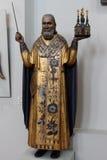 Święty Nicholas Mozhaisk z kordzikiem w jeden ręce wewnątrz i kościół Obrazy Royalty Free