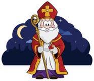 Święty Nicholas z jego dużą książką imiona i personelem (Sint) ilustracja wektor