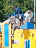 ŚWIĘTY PETERSBURG-JULY 06: Jeździec Andis Varna na Coradina w C Obrazy Royalty Free