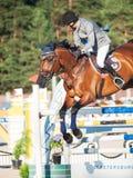 ŚWIĘTY PETERSBURG-JULY 05: Jeździec Gunnar Klettenberg na Ulrike R ja Obraz Royalty Free