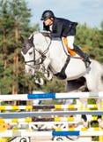 ŚWIĘTY PETERSBURG-JULY 05: Jeździec Mikhail Safronov na Copperphild Obraz Royalty Free