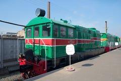 ŚWIĘTY PETERSBURG ROSJA, MARZEC, - 30, 2016: Starego Węgierskiego przetoku dieslowska lokomotywa VME1 w muzeum kolejowy transport Obrazy Stock