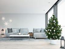 świadczenia 3 d stwarza ognisko domowe z christmastree w nowożytnym mieszkaniu Święta dekorują odznaczenie domowych świeżych pomy Zdjęcia Royalty Free