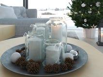świadczenia 3 d stwarza ognisko domowe z christmastree w nowożytnym mieszkaniu 1 nastanie Obrazy Stock