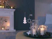 świadczenia 3 d stwarza ognisko domowe z nastanie dekoracją w nowożytnym mieszkaniu 1 nastanie fotografia stock