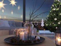 świadczenia 3 d stwarza ognisko domowe z nastanie dekoracją w nowożytnym mieszkaniu 1 nastanie zdjęcia stock