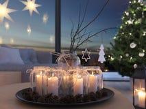 świadczenia 3 d stwarza ognisko domowe z nastanie dekoracją w nowożytnym mieszkaniu 4 nastanie obrazy stock