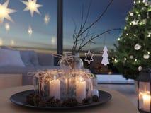 świadczenia 3 d stwarza ognisko domowe z nastanie dekoracją w nowożytnym mieszkaniu 2 nastanie zdjęcie royalty free