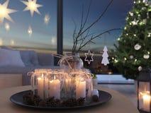 świadczenia 3 d stwarza ognisko domowe z nastanie dekoracją w nowożytnym mieszkaniu 3 nastanie obrazy royalty free