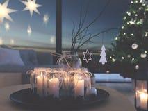 świadczenia 3 d stwarza ognisko domowe z nastanie dekoracją w nowożytnym mieszkaniu 3 nastanie obraz royalty free