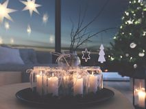 świadczenia 3 d stwarza ognisko domowe z nastanie dekoracją w nowożytnym mieszkaniu 4 nastanie fotografia royalty free