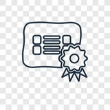 Świadectwa pojęcia wektorowa liniowa ikona odizolowywająca na przejrzysty b ilustracja wektor