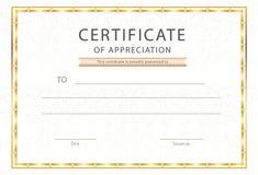 Świadectwo docenienia, dyplom nagrody szablon/ ilustracja wektor