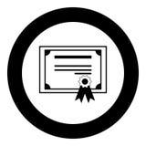 Świadectwo ikony czerni kolor w okręgu Obrazy Stock