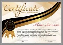 Świadectwo osiągnięcie, dyplom Wygrywać rywalizację nagroda zwycięzca nagroda Złociści i czarni dekoracyjni elementy wektor Zdjęcia Stock