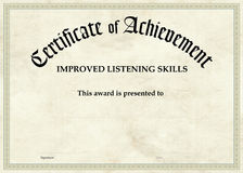 Świadectwo osiągnięcie - Ulepszający słuchanie royalty ilustracja