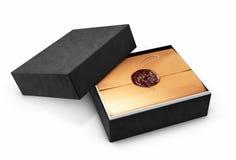 Świadectwo szablon z luksusowym i nowożytnym pudełkiem, dyplom, 3d ilustracja, Obrazy Stock