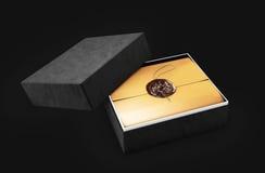 Świadectwo szablon z luksusowym i nowożytnym pudełkiem, dyplom, 3d ilustracja, Fotografia Stock