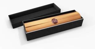 Świadectwo szablon z luksusu pudełkiem, dyplom, 3d ilustracja, Obrazy Royalty Free
