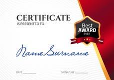 Świadectwo szablonu luksusowa nagroda Wektorowy biznesowy dyplom z foka znaczkiem Prezenta talon lub sukcesu osiągnięcie ilustracja wektor