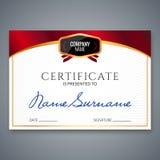Świadectwo szablonu luksusowa nagroda Wektorowy biznesowy dyplom z foka znaczkiem Prezenta talon lub sukcesu osiągnięcie ilustracji