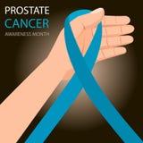 Świadomość Błękitny faborek Światowy raka prostaty dnia pojęcie W ręce Zdjęcie Stock
