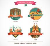 Światów miejsca - Paryż, Toronto, Barcelona, Sahara royalty ilustracja