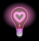 światła żarówki miłości Fotografia Royalty Free