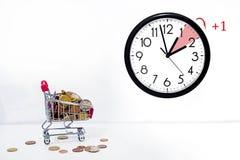 Światła dziennego oszczędzania czas DST Ścienny zegar iść zima czas obrazy royalty free