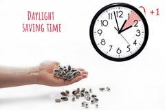 Światła dziennego oszczędzania czas DST Ścienny zegar iść zima czas obraz royalty free