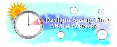 Światła dziennego oszczędzanie, wiosna naprzód, światło dzienne, czas, savings, zegar, wiosna ratuje, przedni, tło, dzień, ilustr Zdjęcia Stock