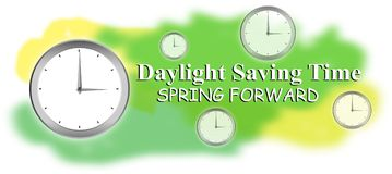 Światła dziennego oszczędzanie, wiosna naprzód, światło dzienne, czas, savings, zegar, wiosna ratuje, przedni, tło, dzień, ilustr Obrazy Stock