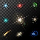 Światła, gwiazdy i błyskają ilustracja wektor