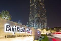 Światła na Burj Khalifa przy nocą w Dubaj, światowy wysoki budynek Zdjęcie Royalty Free