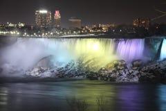 Światła na Niagara spadkach Zdjęcia Royalty Free