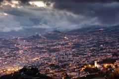 Światła noc w Funchal Zdjęcia Royalty Free