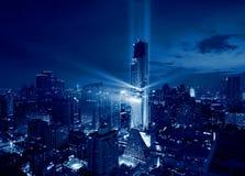 Światła przedstawienie Bangkok manahakhon budynek, Tajlandia zdjęcie stock