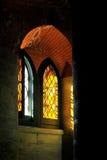 Światła przez pobrudzonego barwionego szkło Zdjęcia Royalty Free