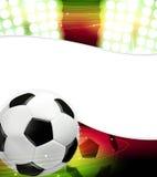Światła reflektorów i piłki nożnej piłka ilustracja wektor