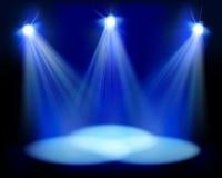 Światła reflektorów na scenie również zwrócić corel ilustracji wektora Obrazy Stock