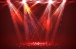 Światła reflektorów na scenie z dymem & światłem Zdjęcie Royalty Free