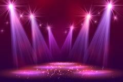 Światła reflektorów na scenie z dymu światłem Fotografia Royalty Free